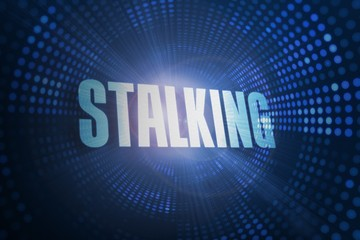 Stalking against futuristic dotted blue and black background