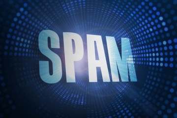Spam against futuristic dotted blue and black background