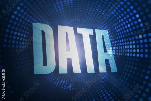 Data against futuristic dotted blue and black background
