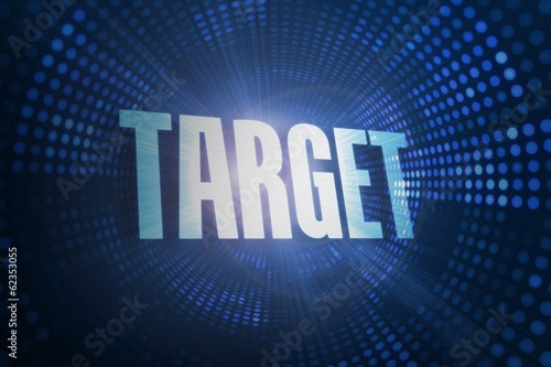 Target against futuristic dotted blue and black background