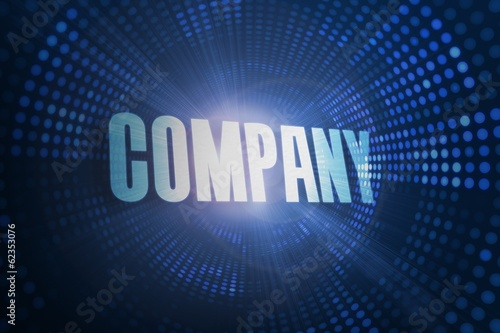 Company against futuristic dotted blue and black background