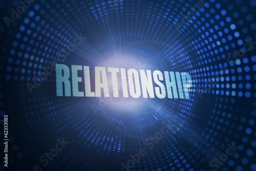 Relationship against futuristic dotted blue and black background