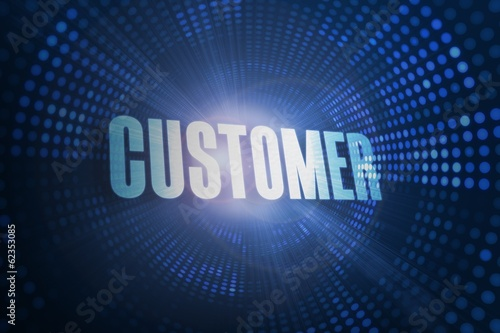 Customer against futuristic dotted blue and black background