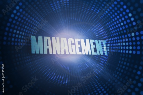 Management against futuristic dotted blue and black background