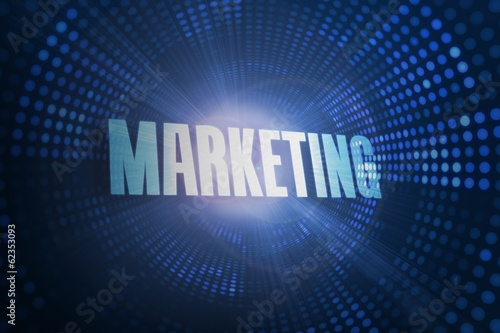 Marketing against futuristic dotted blue and black background