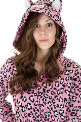 beautiful female model wearing leopard pajamas