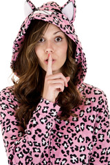 female model in cat pajamas finger to her mouth