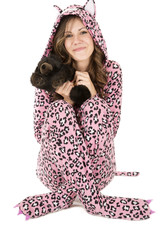 beautiful female model in pink leopard pajamas
