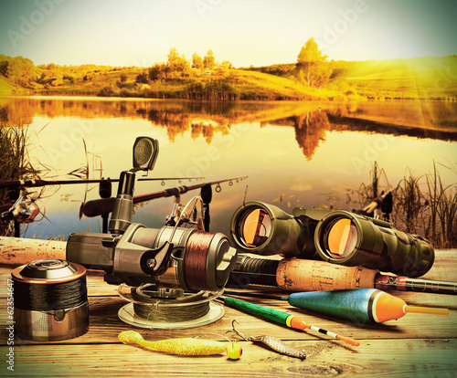 fishing tackle on a pontoon