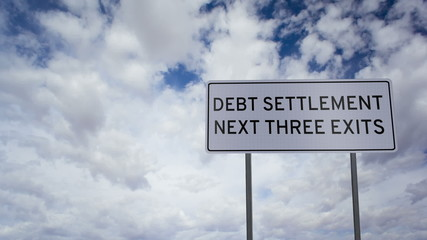 Debt Settlement Sign Clouds Timelapse
