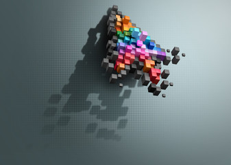 Crumbling cursor color pixel computer mouse. path to isolation.