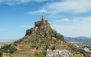 Spanish valley with ancient castle of Monteagudo
