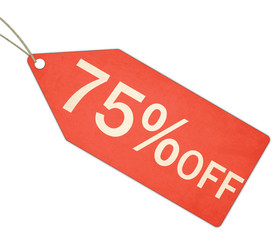 Seventy Five Percent Off Sale Red Tag and String