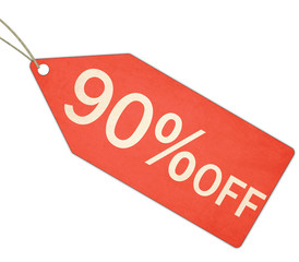 Ninety Percent Off Sale Red Tag and String