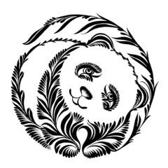 decorative silhouette of panda