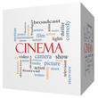 Cinema 3D cube Word Cloud Concept