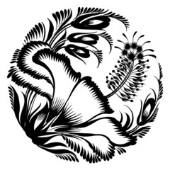 decorative silhouette hibiscus