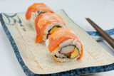 Maki Sushi - Roll made of Smoked Eel, Cream Cheese and Deep Frie