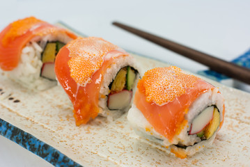 California Maki Sushi with Masago - Roll made of Crab Meat, Avoc