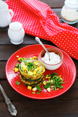 roasted zucchini with eggs and the green
