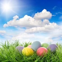 easter eggs in green grass. sunny blue sky