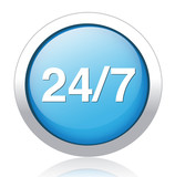 24/7 service blue circle web glossy icon on white background