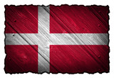 Denmark Flag painted on wood tag