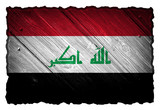Iraq flag painted on wooden tag