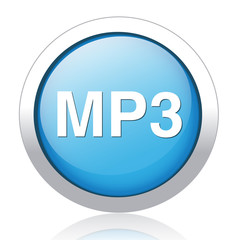 mp3 blue glossy icon on white background