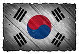 South Korea flag painted on wood texture tag