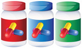 Capsules inside the medical bottles