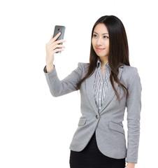 Asia businesswoman selfie
