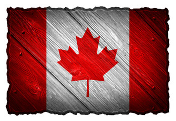 Canada Flag painted on wood tag