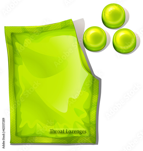 A pack of green throat lozenges