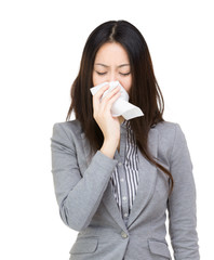 Asia businesswoman sneeze