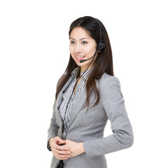 Asia businesswoman customer service looking at a side