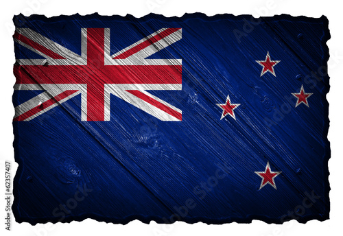 New Zealand flag painted on wood tag