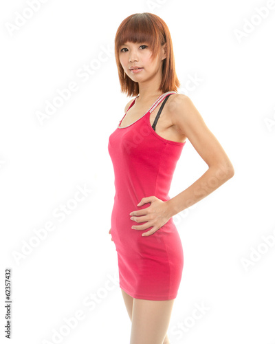 Beautiful Asian Woman in Red Dress Looking at Camera