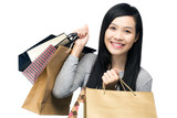 Asian woman with lots of shopping bag