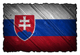 Slovakia Flag painted on wood tag