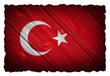 Turkey flag painted on wood tag