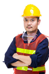 Asian engineer worker isolated