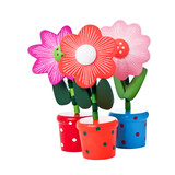 Three Floppy Wooden Flower Toys