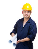 Asia construction worker with blue print