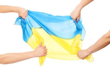 People fighting for Ukrainian flag
