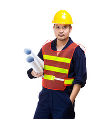 Asia construction worker with layout drawing