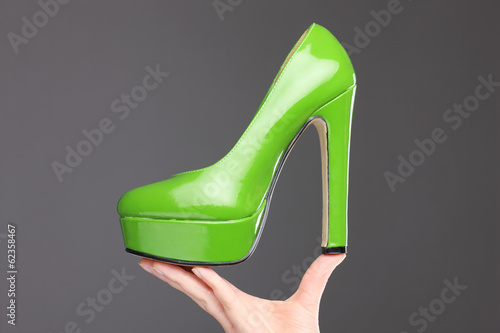 canvas print picture New green high heeled shoe