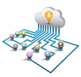 3D cloud computing concept with point icons