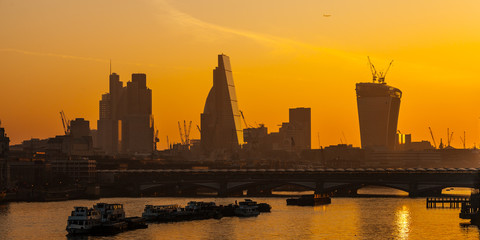 London Skylines at dusk England UK