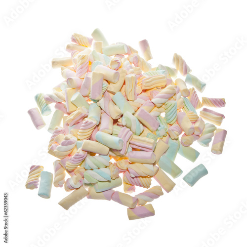 Marshmallow background in various shapes and colours
